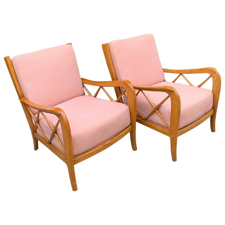 Pair of Italian Lounge Chairs by Paolo Buffa For Sale