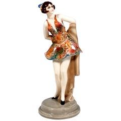 Goldscheider Art Deco Figure Standing Dancer with Headdress by Wilhelm Thomasch