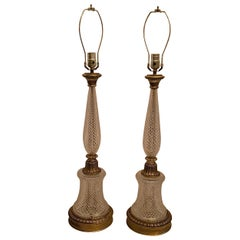 Wonderful Pair of French Diamond Cut Crystal Gilt Dore Bronze Column Lamps