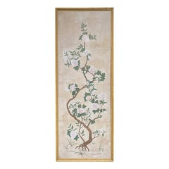 18th Century Chinese Wall Paper Panel, Old Frame