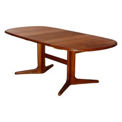 Mid Century Danish Modern Teak Trestle Dining Table & 2 Leaves