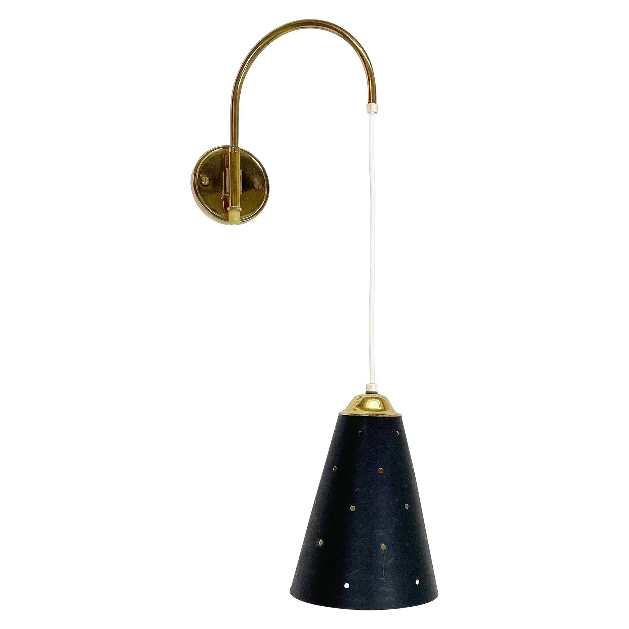 Minimalist Stilnovo Style Adjustable Brass Wall Hanging Light, Italy 1960s