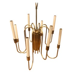 Mid-Century Modern Brass Chandelier Attributed to Tommy Parzinger