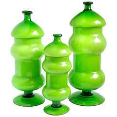 Empoli Bright Green White Italian Art Glass Three-Piece Container Cookie Jar Set