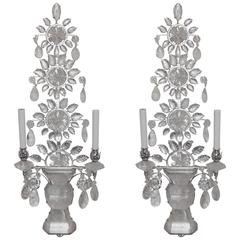 Wonderful Modern Transitional Silvered Baguès Rock Crystal Mid-Century Sconces