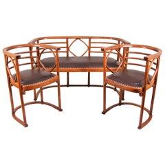 Thonet Bentwood Seating Set Design J. Hoffmann Art Nouveau, Austria, ca. 1910