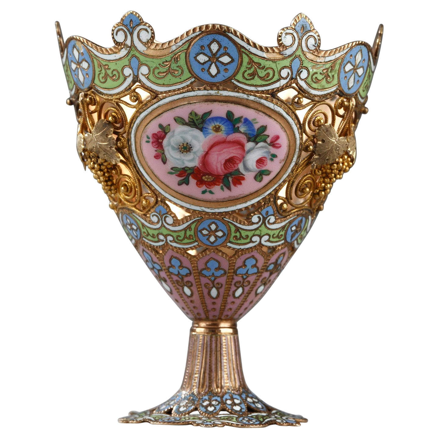 Gold and Enamel Zarf, Swiss, Early 19th Century