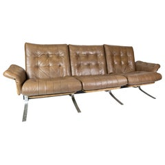 Three Seater Sofa Upholstered with Light Brown Leather of Danish Design, 1970s