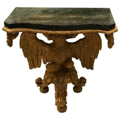 George III Marble Topped Console Table with Intricate Carved Eagle Base
