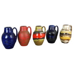 """Set of Five Vintage Pottery Fat Lava """"414-16"""" Vases Made by Scheurich, Germany"""