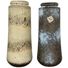 """Set of Two Pottery Fat Lava Vases """"206-26"""" Made by Scheurich, Germany, 1970s"""