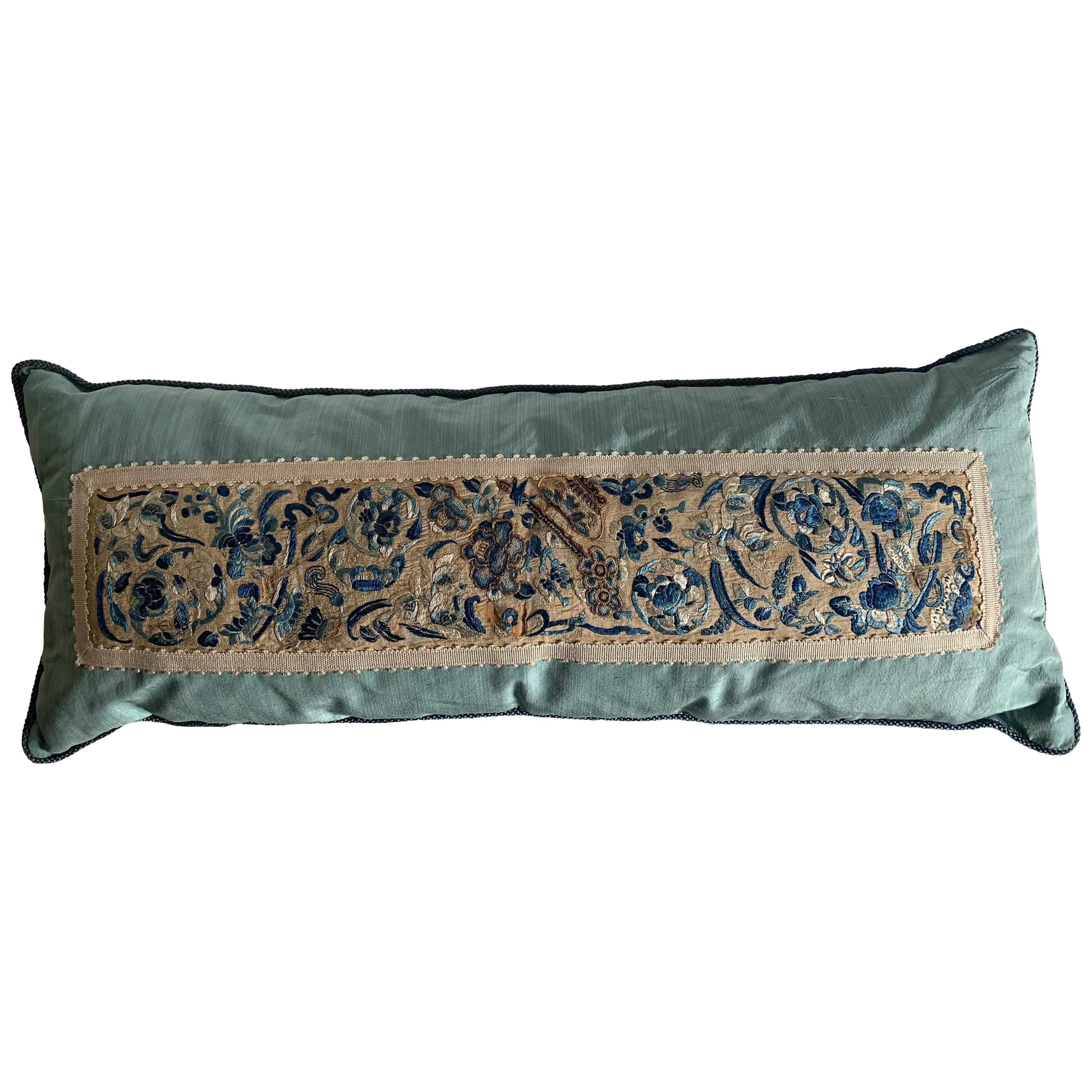 Antique Chinese Embroidered Textile Custom Silk Pillow