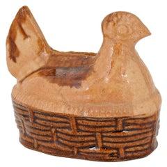 French 19th Century Glazed Majolica Chicken Bank on Wicker Basket Style Base
