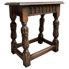 Antique English Carved Oak Bench Stool End Table Jacobean Joint Style