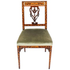 Antique Dutch Marquetry Side Chair, 19th Century
