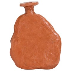 "Willem Van Hooff Vase Model ""Tamu"" Contemporary Earthenware Orange Vessel, 2021"