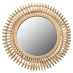 French Design Round Rattan Mirror