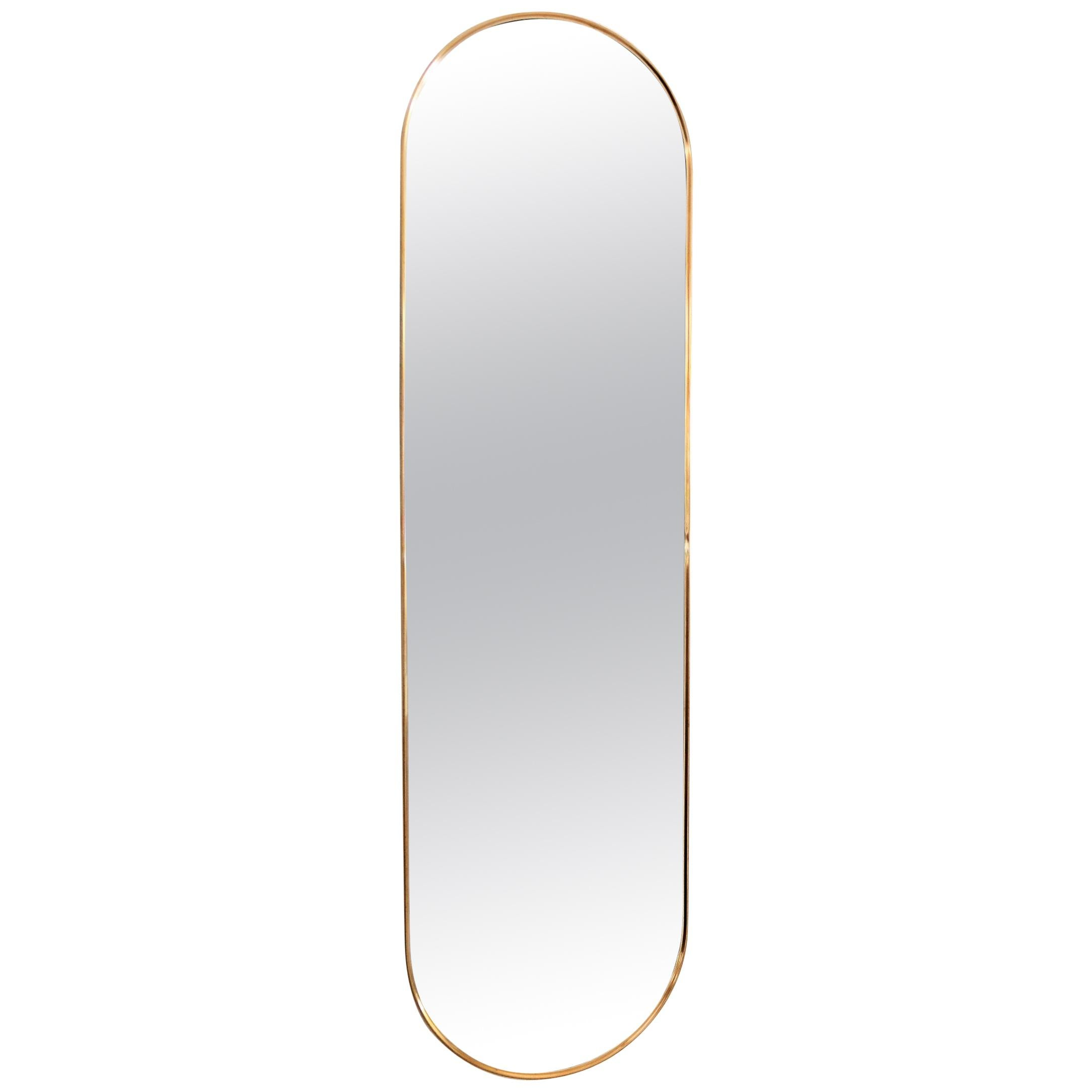 Italian Midcentury Oval Wall Mirror with Brass Frame, 1970s