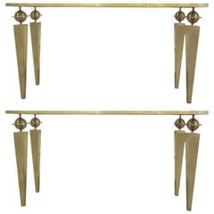 2 Large French Mid-Century Modern Style Gilt Iron Consoles, Gilbert Poillerat