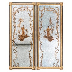 Fine Pair of Chinoiserie Decorated Mottled Mirrors
