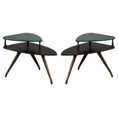 Pair of Walnut Mid-Century Modern Kagan Style Torpedo End Tables