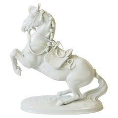 White Porcelain Equine Horse Sculpture Decorative Object from Austria