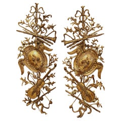 Pair of Mid Century Italian Carved Gilt Wood Music Instruments Wall Decors
