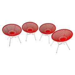 Set of Orange Italian Mid-Century Hard Plastic Garden Balloon Chairs, 1970s