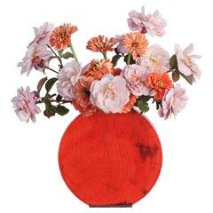 Large Red Orange Vase