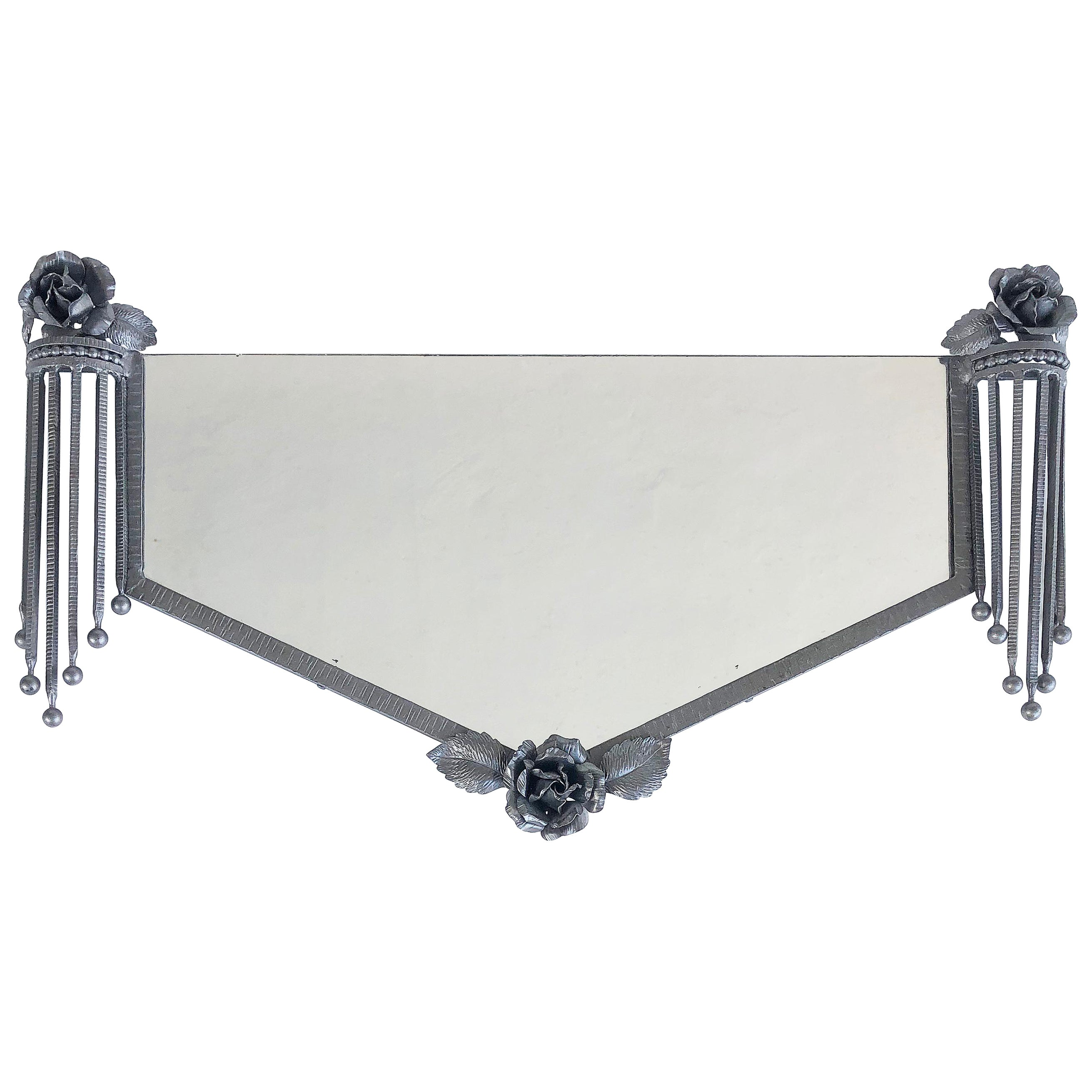 French Art Deco Silvered Iron Wall Mirror, c.1930