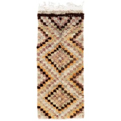 Vintage Tulu Runner Rug with Checkered Design, Wool Hand-Knotted Carpet