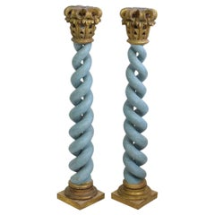 Pair of 18th Century Italian Hand Carved Wooden Columns