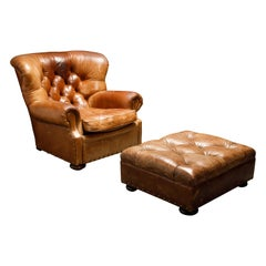 Henredon Heavy Leather Wingback Writer's Club Chair and Ottoman, Signed
