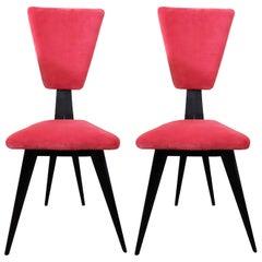 Italian Mid-Century Set of Two Red Velvet Chairs 1950s