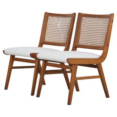 Set of 2 Sidechairs with Viennese Wicker, 1950's