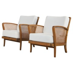 Set of 2 Armchairs with Viennese Wicker, 1950's