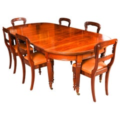 Antique Victorian Oval Extending Dining Table & 6 Chairs, 19th Century