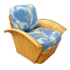 Restored Pair of Art Deco Rattan Fan Arm Lounge Chairs