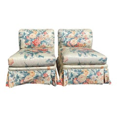 Pair of 20th Century American Slipper Chairs Upholstered by Mario Buatta