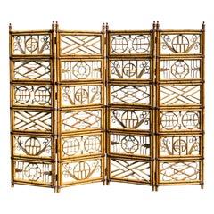 Circa 1960-1970s Asian Brighton Pavilion Style 4 Panel Bamboo Screen