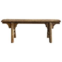 Vintage Antique Elm Wood Skinny Bench
