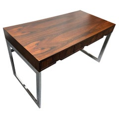Milo Baughman Style Rosewood and Chrome Desk