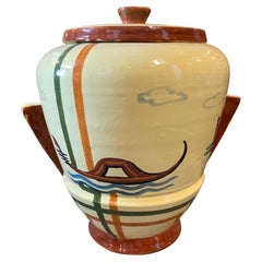 1930s Art Deco Hand-Painted Italian Ceramic Biscuit Box by Ceramiche Faenza