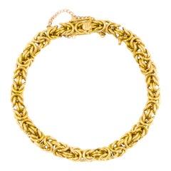 Estate 18K Yellow Gold Byzantine Flexible Link Chain Bracelet
