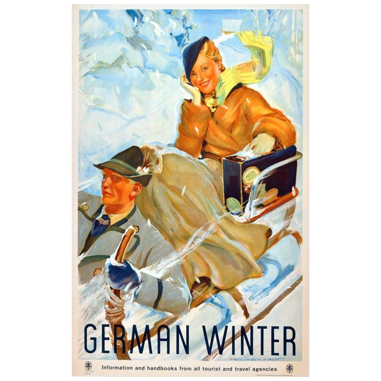 "Original Vintage 1930s Travel Advertising Poster ""German Winter"" For Sale"
