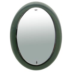 Cristal Art Oval Wall Green Glass Framed Mirror, Italy, 1960s
