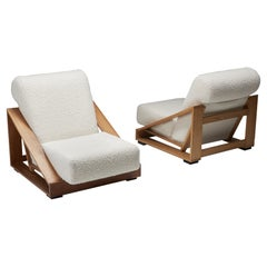 Italian Geometric Boucle Lounge Chairs by Patio and Toso for Stilwood