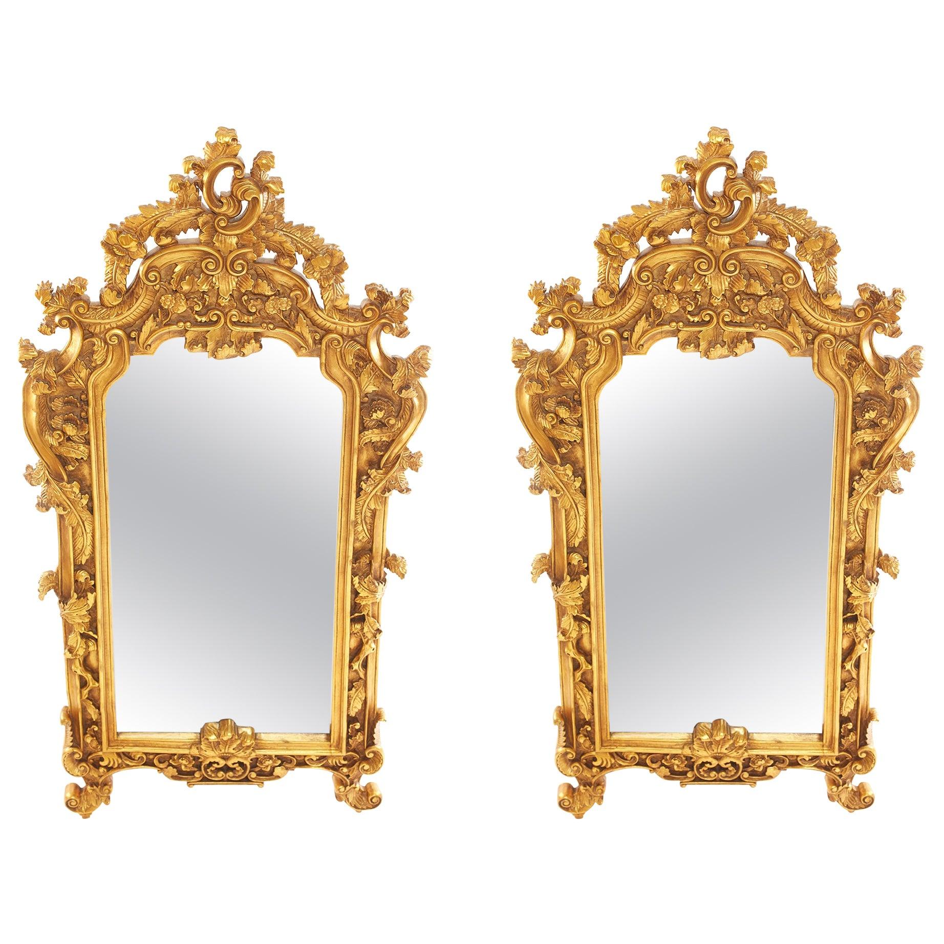 Ornately Wood Framed Pair Beveled Hanging Mirror