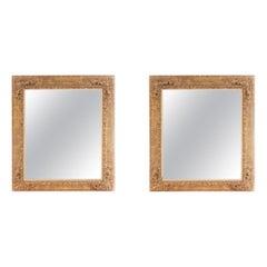 Pair Gilt Wood Framed Hanging Wall Mirror