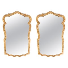 Pair Gilt Wood Framed Beveled Wall Mirror